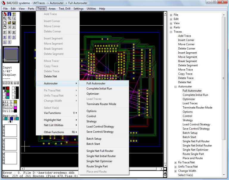 BAE Version 7.6: Layout Editor - Autorouter Functions